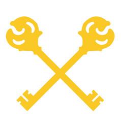 crossed golden keys vector image vector image