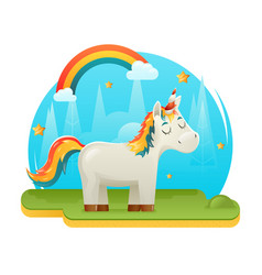cute cartoon unicorn fantasy animal sweet dream vector image vector image