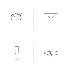 food and drink simple linear icon setsimple vector image vector image