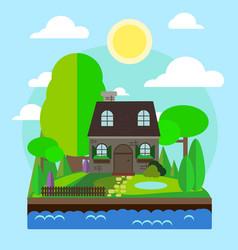 Home and lake vector
