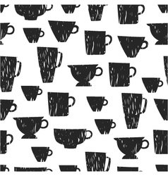 Seamless pattern with cups mugs vector image