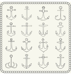 Silhouettes of hand drawn anchors vector image vector image