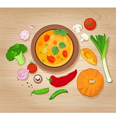Vegetable Soup and Ingredients on Wooden Backgroun vector image vector image