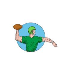 quarterback qb throwing ball circle drawing vector image vector image