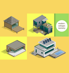 set of modern cottages vector image