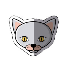 sticker grey shading picture face cute cat animal vector image