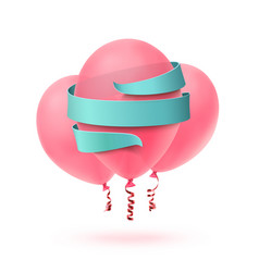 three pink balloons isolated with blue ribbon on vector image