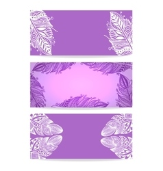 Violet Banner with Hand drawn Feathers vector image vector image