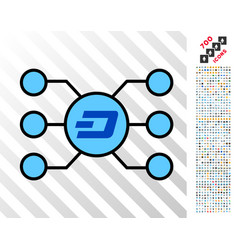 dashcoin masternode links flat icon with bonus vector image vector image