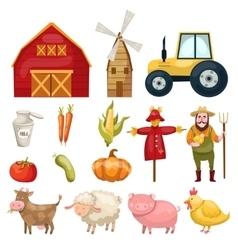 Farm Cartoon Elements Set vector image