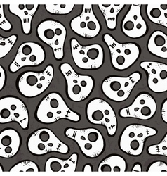 Seamless pattern with funny skulls vector image vector image