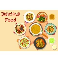 Spicy dishes for dinner menu icon design vector image vector image
