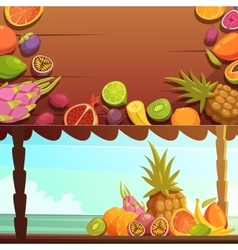 Tropical Island Fruit Banners Set vector image vector image