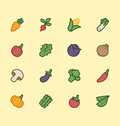 vegetable element color icon set vector image