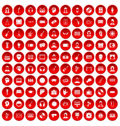 100 audience icons set red vector