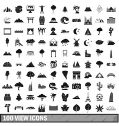 100 view icons set simple style vector