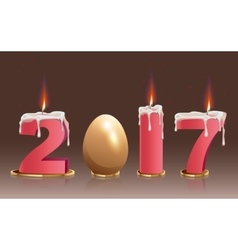 2017 burning candles and golden egg vector image