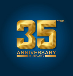 35 years anniversary celebration logotype golden vector image
