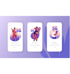 5g network wireless technology mobile app page vector image