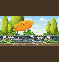 A terrace with tables and chairs vector