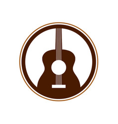 Acoustic guitar circle emblem symbol logo design vector