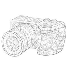 Adult coloring bookpage a cute camera vector
