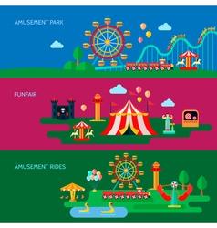 Amusement Park Banners Set vector image