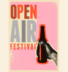 beer open air fest retro grunge pop-art poster vector image