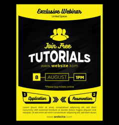 black and yellow online tutorial education banner vector image