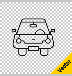 black line car icon isolated on transparent vector image