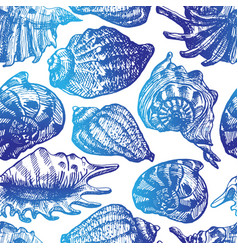 blue seashells seamless pattern vector image