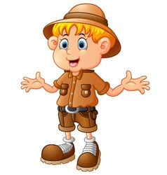 Boy explorer cartoon vector