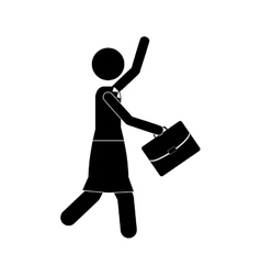 Business woman with briefcase icon image vector
