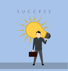 businessman carrying a lightbulb success business vector image