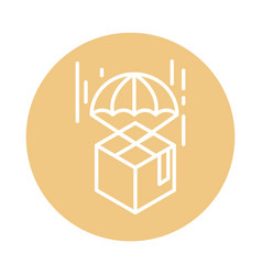cardboard box with parachute logistic cargo vector image
