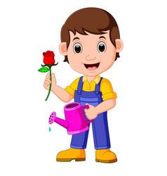 Cartoon gardener with watering can vector