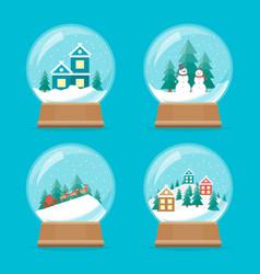 Cartoon snow globe icons set vector
