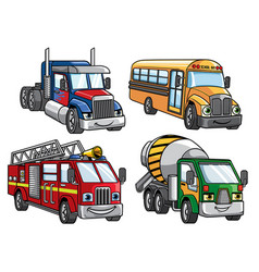 Cartoon truck set vector