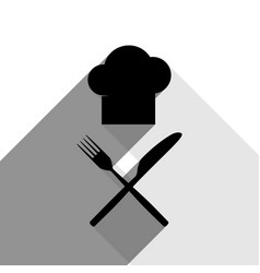 chef with knife and fork sign black icon vector image