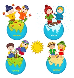 Children and four seasons on planet vector