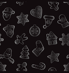 Christmas and new year silver outline seamless vector