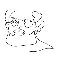 continuous one line sketch portrait older man vector image