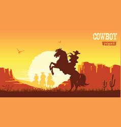 cowboy riding horse at sunset prairie landscape vector image