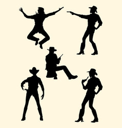 cowgirl and cowboy silhouette vector image