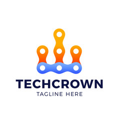 crown technology logo in line art style vector image