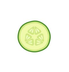 cucumber slice on white background vector image