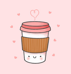 Cup coffee cartoon hand drawn style vector
