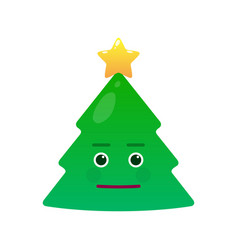 Cute christmas tree isolated emoticon vector