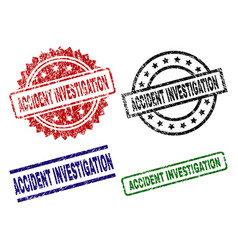 Damaged textured accident investigation seal vector
