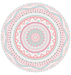 Decorative pink and blue round pattern frame vector
